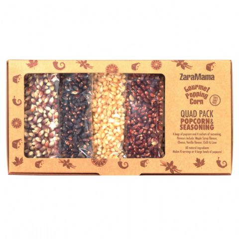 Quad Pack Popcorn & Seasoning Gift Box 400g - ZaraMama Gourmet Popping Corn